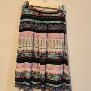 Mixed pattern midi skirt